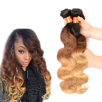 Aliexpress Hair Brazilian Hair 3 Tone Ombre Body Wave, 100% Bouncy Brazilian Human Hair Extension