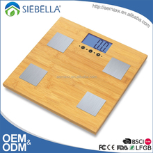 High precision Weight LCD display bamboo platform electronic weighing body fat scale