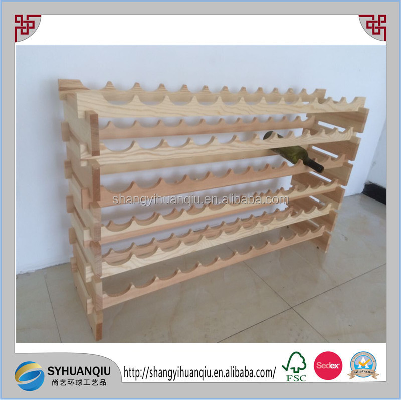 stackable storage solid wood Wooden wine rack with 72bottles