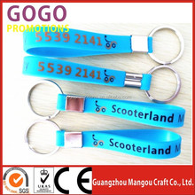 Custom embossed/imprinted/printed logo Silicone Wristband key holder / silicone bracelet key ring/keychain/key chain
