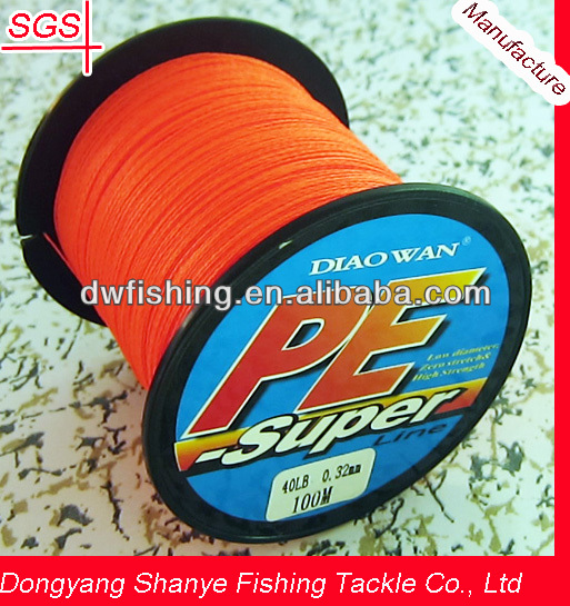 DIAOWAN 40LB Fishing Tackle PE Braided Fishing Line 4 Strands Fluorescent ORANGE