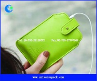 custom PU leather mobile phone case with button