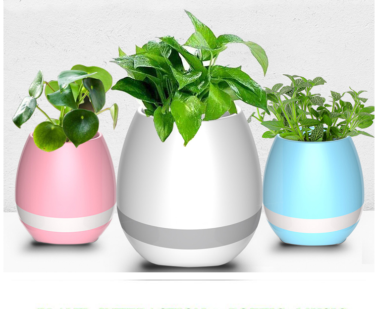 2017 foreign trade products plastic flower pot Bluetooth speaker smart flower pot mini speaker music for pot and for everyone