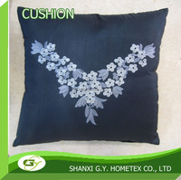 100% polyester solid silk embroidery cushion cover for sofa