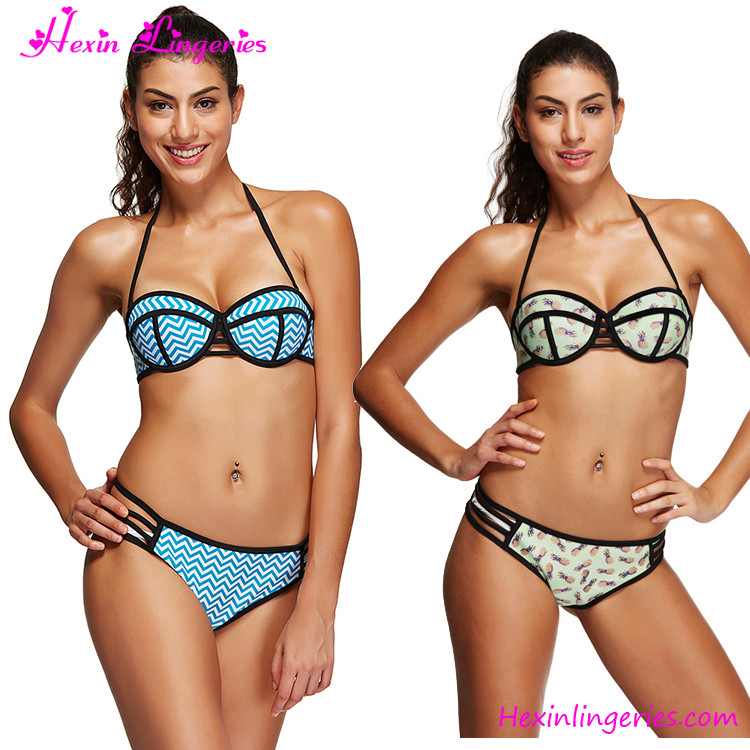 Online shopping floral halter two piece extreme bikinis bathing suits for sale