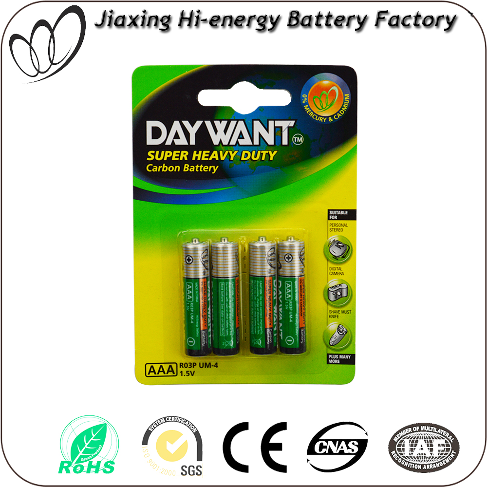 R03 battery size AAA R03 UM-4 dry battery