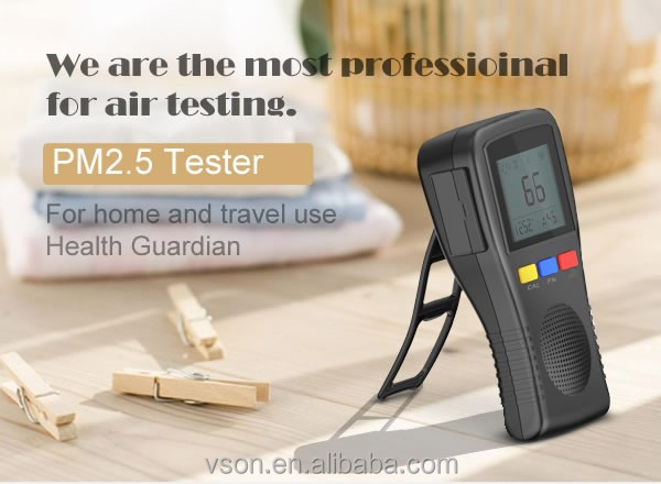 PM2.5 test instrument and air tester with temperature measurement