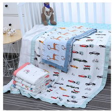 2019 New Design 4 layers70% bamboo 30% muslin baby blanket with safe printing with unicorn rainbow lemon dinosaur carrot