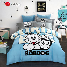 Kids baby cute bear korean animal printing design microfiber linen bedding set bed sheet comforter duvet cover bedspread fitted