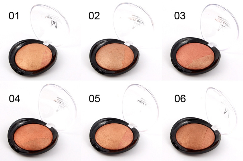 Single Color MISS ROSE Baked Blusher Palette 6 Kind Colors Waterproof Natural Blush Nude Makeup CA3501