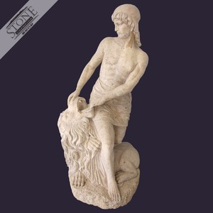 Famous natural stone statue of human fighting with lion