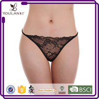 Factory Price Delicate Mature Lady Erotic Transparent Black G-String