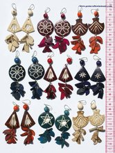 Handmade Dangling Coconut Alpaca Color Earrings with Woven Brazilian Threads, Wholesale Jewellery for Ladies