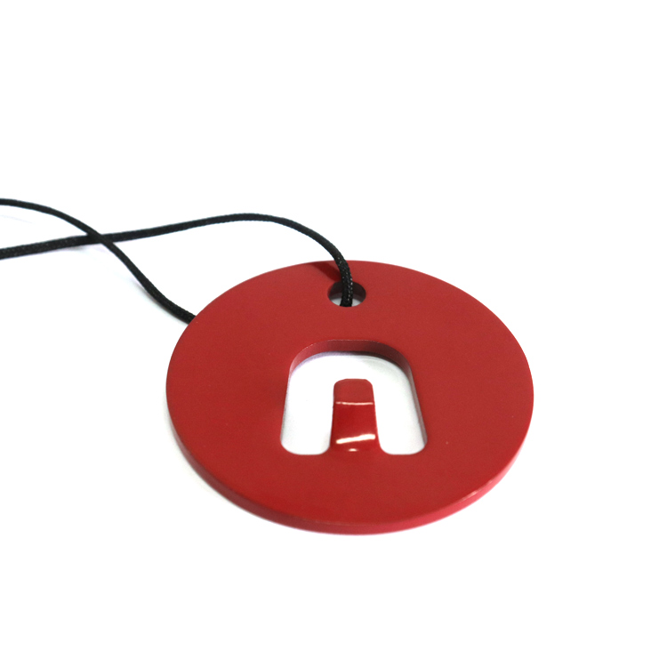 Round shape with a hole red painted metal bottle opener