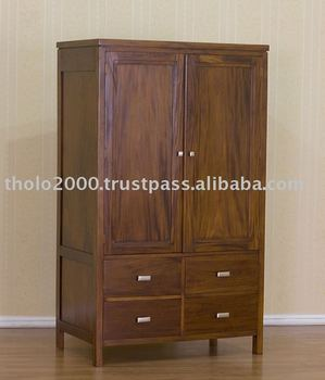 2 Doors Plain Wardrobe with 4 Drawers
