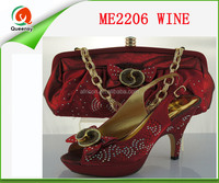 ME2206 Fashion Italian Matching Shoe And Bag Set With Rhinestone Upscale African High Heels Shoes With Matchign Bag
