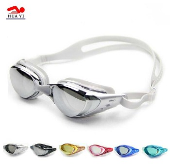 Adult silicone Mirror coated CE approved swimming goggles