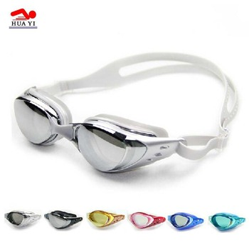 Best waterproof quality mirror coating anti uv silicone swimming goggles