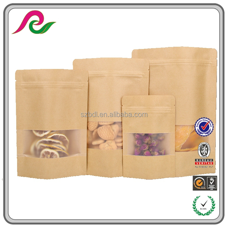 custom ziplock bag with window kraft paper bag for food