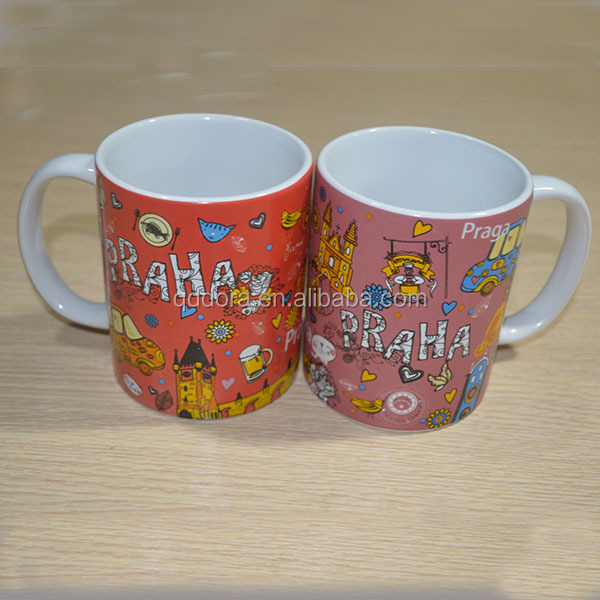 high-quality promotional drinkware, glazed sublimation ceramic coffee mug with lid
