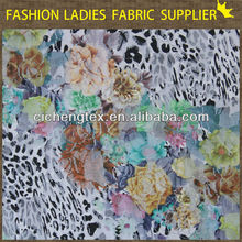 shaoxing textile 2014/2015 new fashions high quality polyester/spandex 92/8 transfer print lace fabric