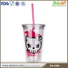 High Quality 16 oz Plastic Bath mug with Straw