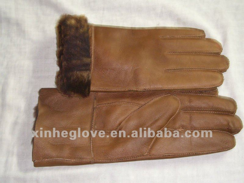 fur skin leahter gloves for men five finger leather warm glove