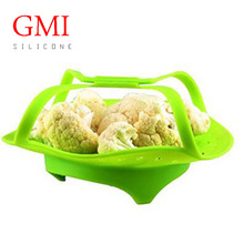BPA free Silicone Vegetales Steamer Food Baskets for Healthy Cooking Fruits Veggies Seafood Pot