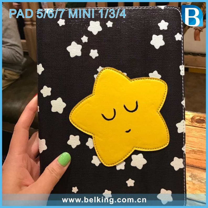 Cute Moon Star pad Mini 4 Leather Tablet Cover for iPad air 2 case