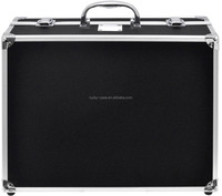 Reinforced Aluminum Frame Black Hard Case with Handle Customizable Aluminum Case