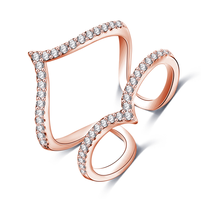 18K Rose Gold Plated Women's Brass Jewelry Finger Ring CZ Diamond Double V Shaped Joint Rings CRI1030