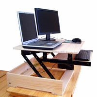 Height adjustable sit stand lift raising desk for computer and laptops