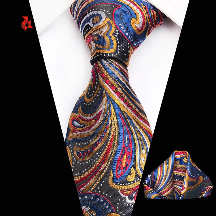 Fashion Paisley Floral Tie Microfiber Woven Men's Necktie and Pocket Square Set