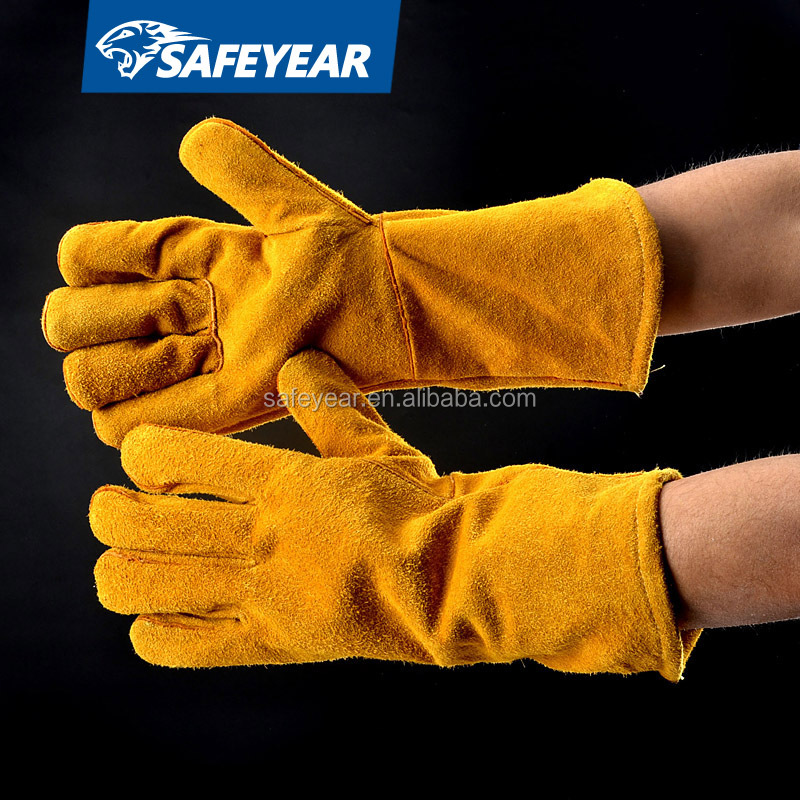 China AB class gloves welding gauntlet long cow split leather tig leather welding gloves