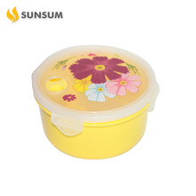Stocked folding 12x5.5cm air tight plastic round lunch box ,microwave use plastic lunch box,new material lunch box