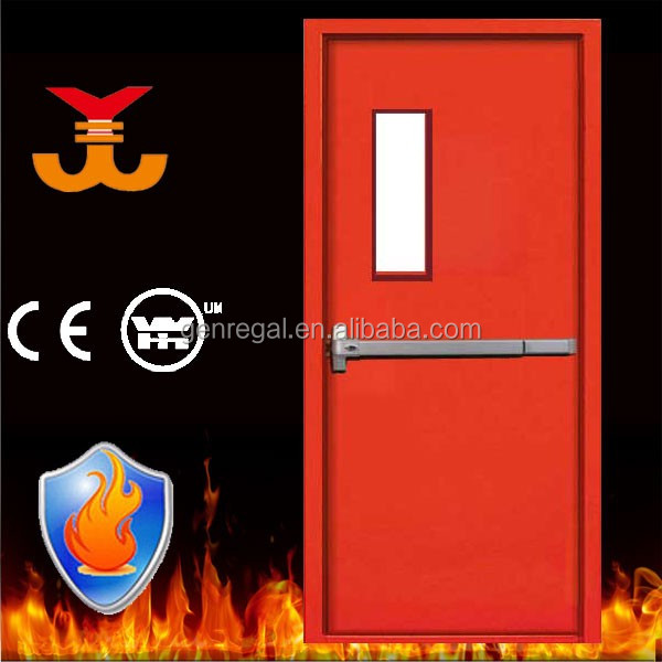 Emergency exit 2 hours steel fire rated doors with push bar