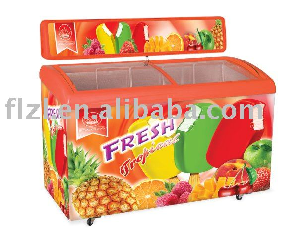 Curved glass door freezer,ice cream showcase,sliding door chest freezer