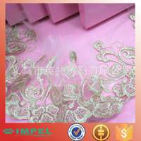 factory price embroidery lace gold lace trim lace fabric in korea