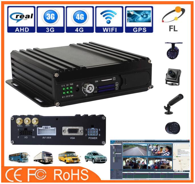 new design Factory 4ch GPS tracking SD card mobile DVR Linux system live video MDVR dash camera dvr for bus school car
