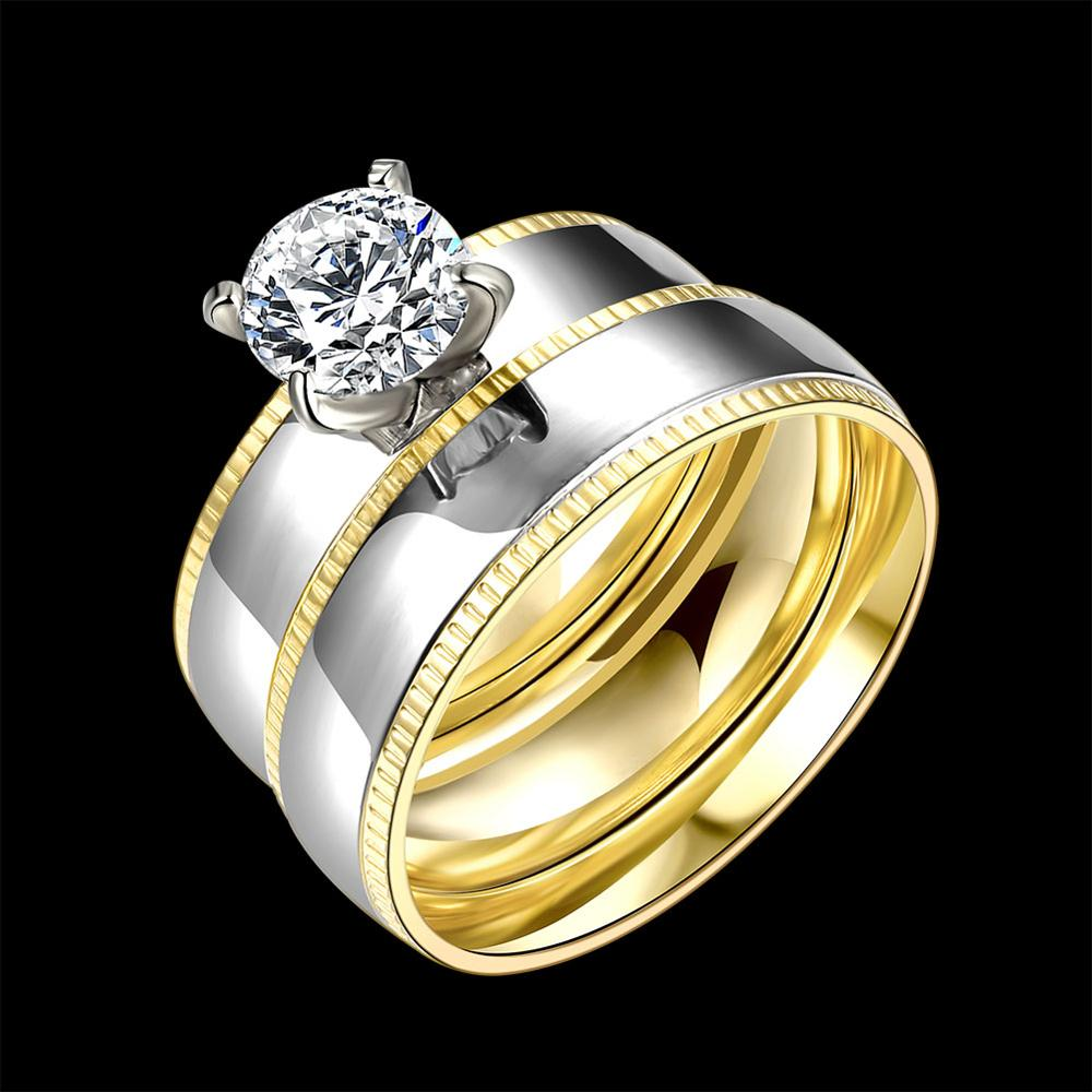 Tryme Geometric Design Male Female 18K Real Gold Plated Wedding Ring Sets Stainless Steel Rings for Men And Women Gold Jewelry