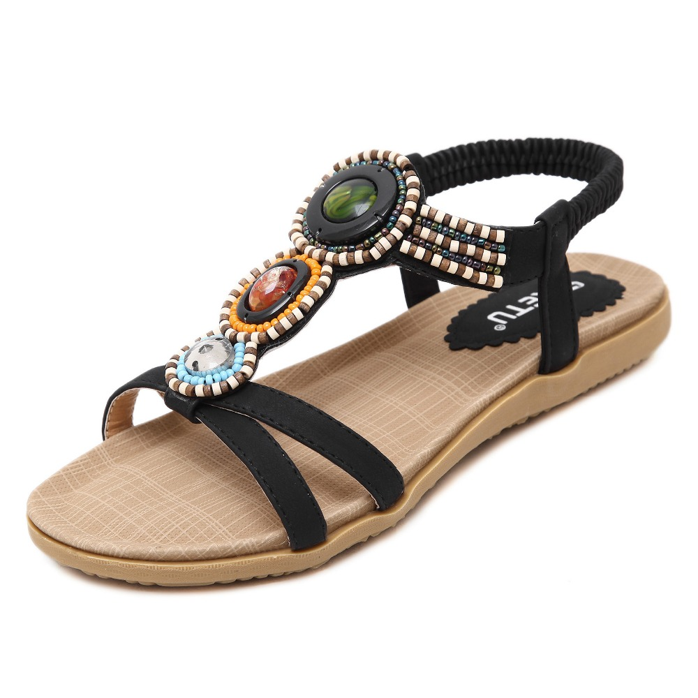 The latest online shopping summer flat shoes ladies beaded sandals