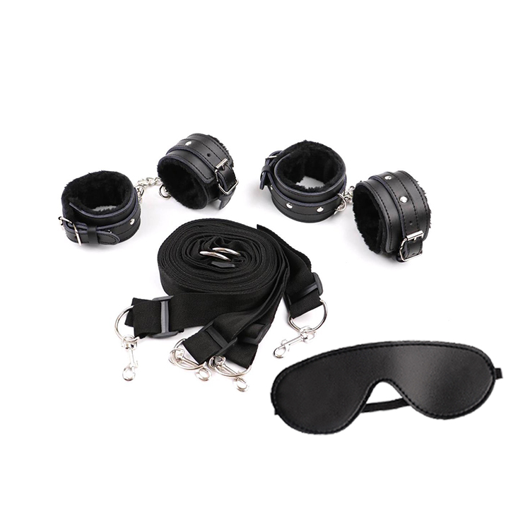 Adult eye mask SM lux male leather fetish BDSM under the bed restraint bondage with wrist and ankle cuffs sex toy