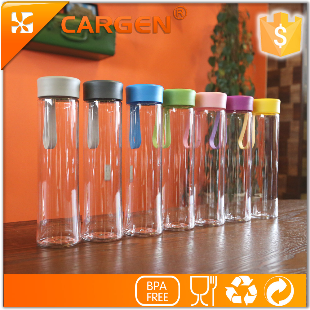 Fashion 475ml portable silicone strap clear sport plastic water bottle