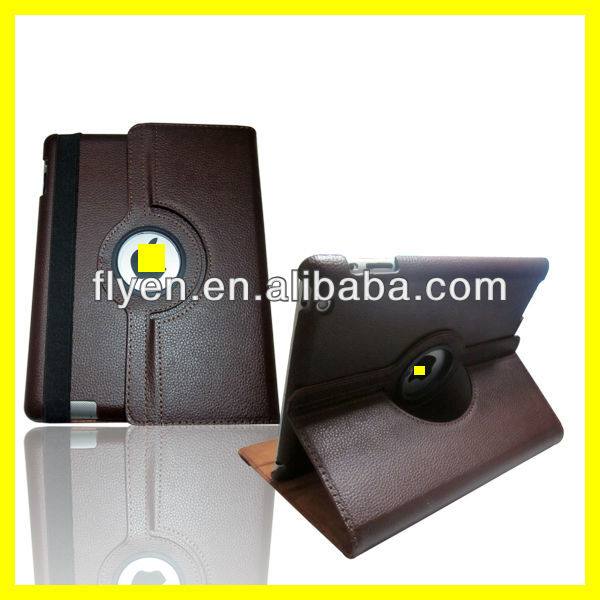 Magnetic Rotating Leather Case for the New iPad 4 3 2 Smart Cover With Swivel Stand 360 Degree Plain Synthetic Color Brown