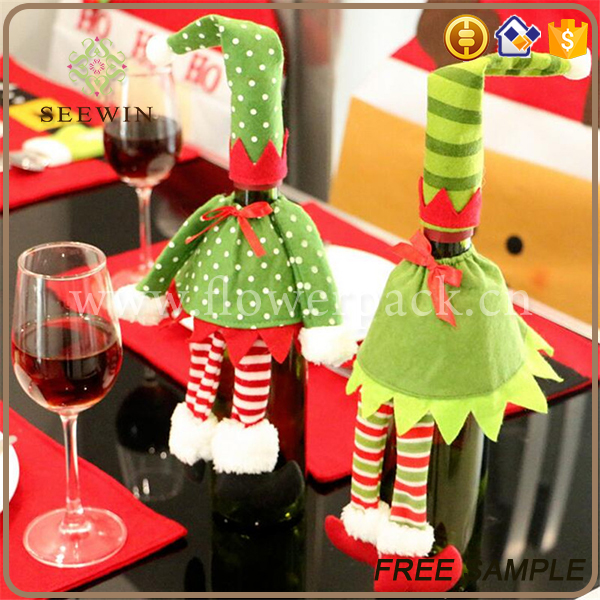 wholesale cute lovely ornament christmas gift non woven wine bag