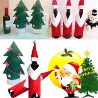 2016 High Quality Best Price New Stylish Household mas Tree Christmas Decorations Coat Hat Wine Bottle Covers Home Ornaments