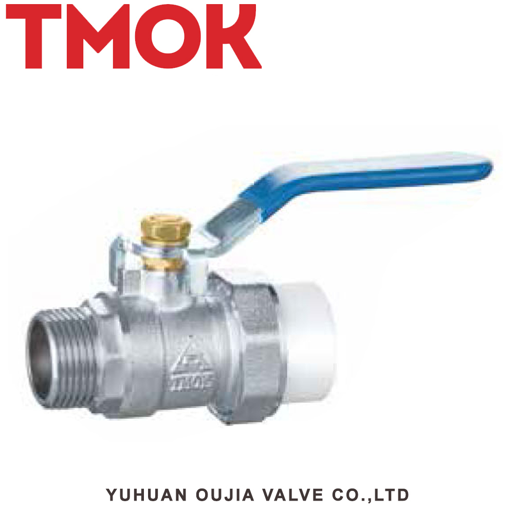 chrome plated solenoid double joint cock active ppr brass ball valve