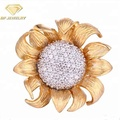 aaa cubic zirconia stud silver jewelry flower gold plated earring