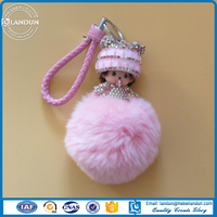 2016 New style Lovely shape Key ring Monchichi with pompom /Monchichi pendant for car decoration
