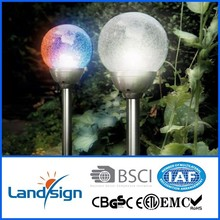 landsign PP+Glass+Stainless steel 1*super bright LED solar grave light